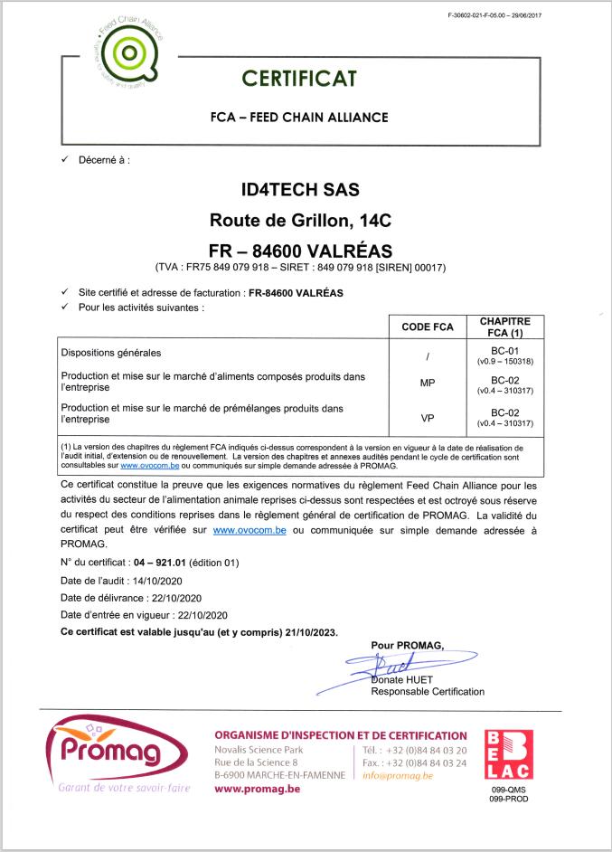 Certificat FCA pour la PEEV